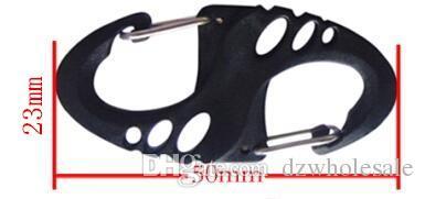 Climbing Hook S Type Carabiner Dual Buckle Keychain Mini Black H1E1