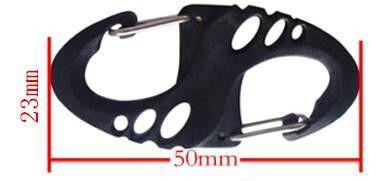 2000 шт. альпинистского крюка S Тип карабин двойной пряжки брелок мини черный H1E1
