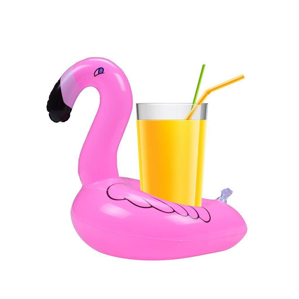 Pool Float Fun Flamingo قابل للنفخ لعبة البلياردو وحامل الكأس رائع لحمامات السباحة وقت الاستحمام حامل الشراب والديكور