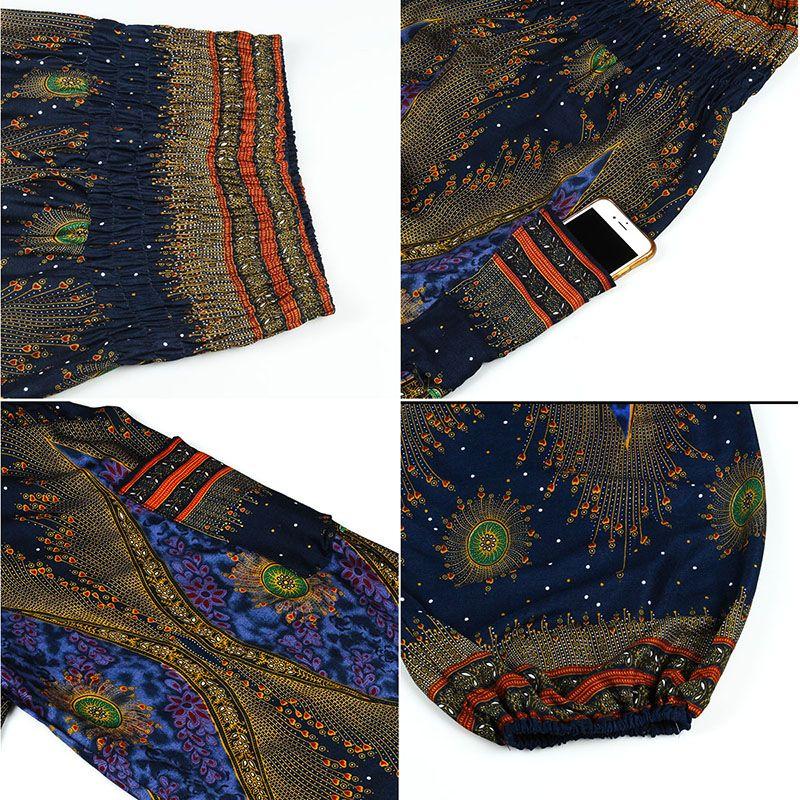 CHLEISURE 3 Cores Summer Beach Boho Calças de Cintura Alta Mulheres Bloomers Plus Size Calças de Impressão Mulheres Moda Workout Pant