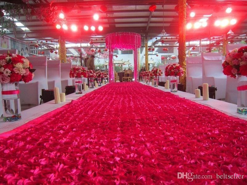 1 4 M 10m Roll Fashion Red 3d Rose Petal Carpet Aisle Runner For