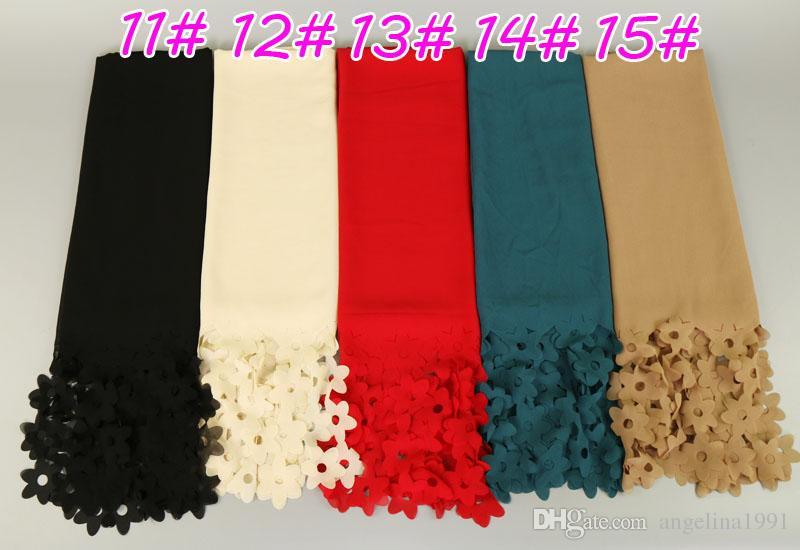 NEW design fashion bubble chiffon laser cut flower headbands hollow shawls hijab wrap muslim scarves/scarf