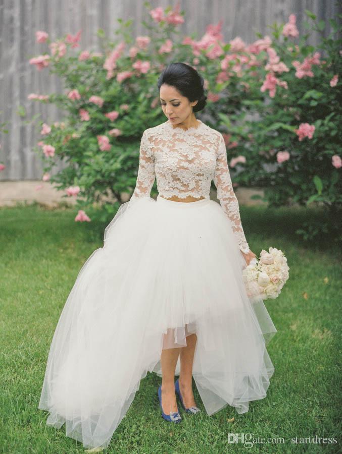 Designer White High Low Brautkleid Sexy Keen Länge Tüll Spitze Sheer Wedding Dress Sleeve Zweiteiler Country Bohemian Günstige Brautkleid