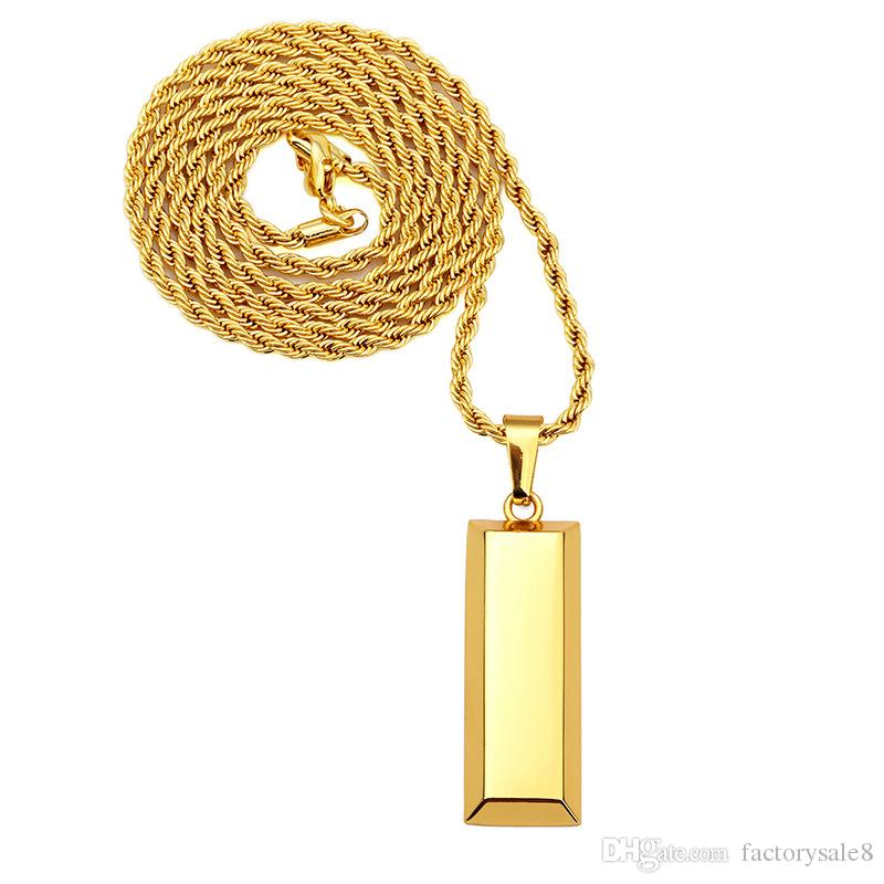 Cube Bar Bullion Necklace & Pendant Gold Plated Star Men Hip Hop Dance Charm Franco Chain Hip Hop Golden Jewelry For Gifts