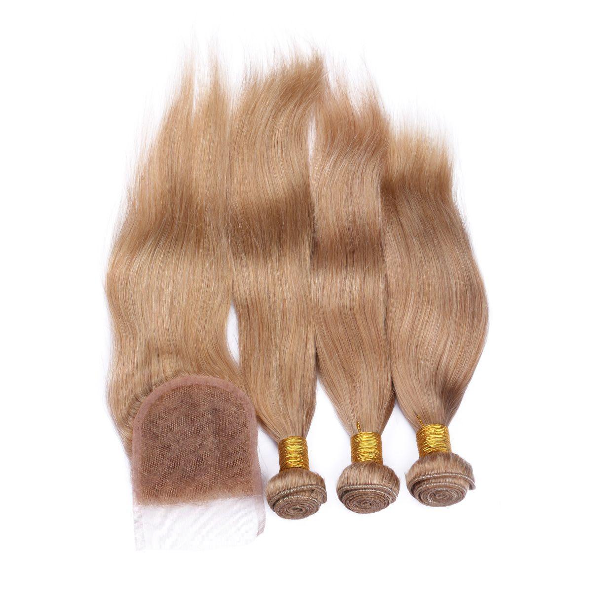 8A Brazilian #27 Honey Blonde Straight Human Hair With 4*4 Lace Closure Brazilian Blonde Top Closure With Hair Bundles