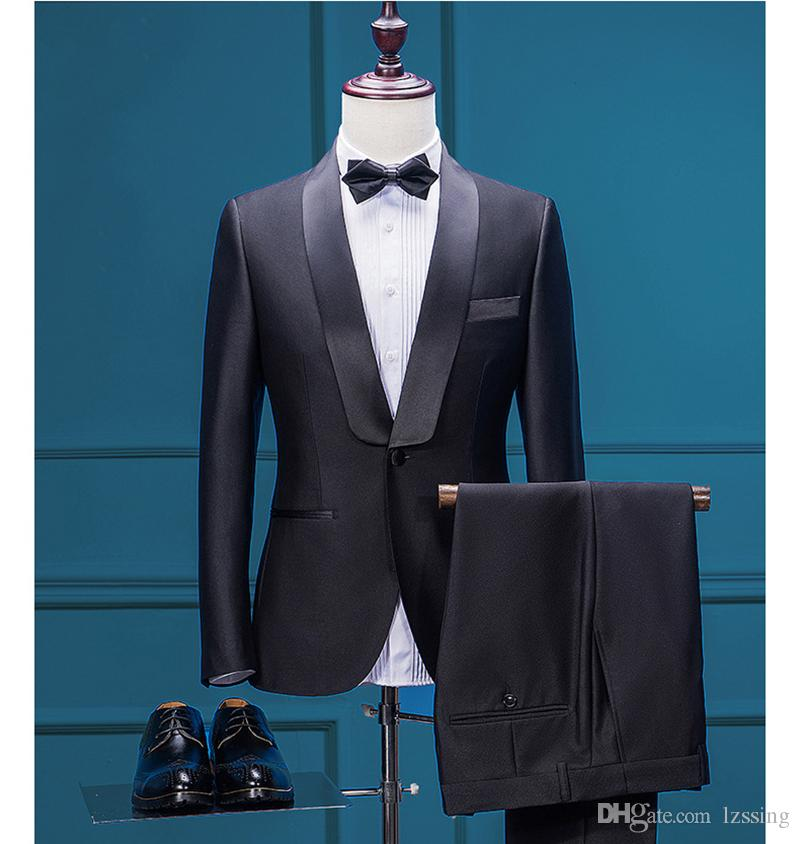 2018 2017 Black Mens Suits Tuxedo Jacket Pants Blazers Male Formal ...