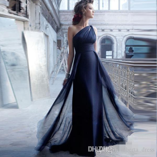 2016 أنيقة عالية الجودة واحد الكتف أكمام مطوي ألف خط الطابق طول مساء اللباس اللباس الرسمي حزب اللباس promDress
