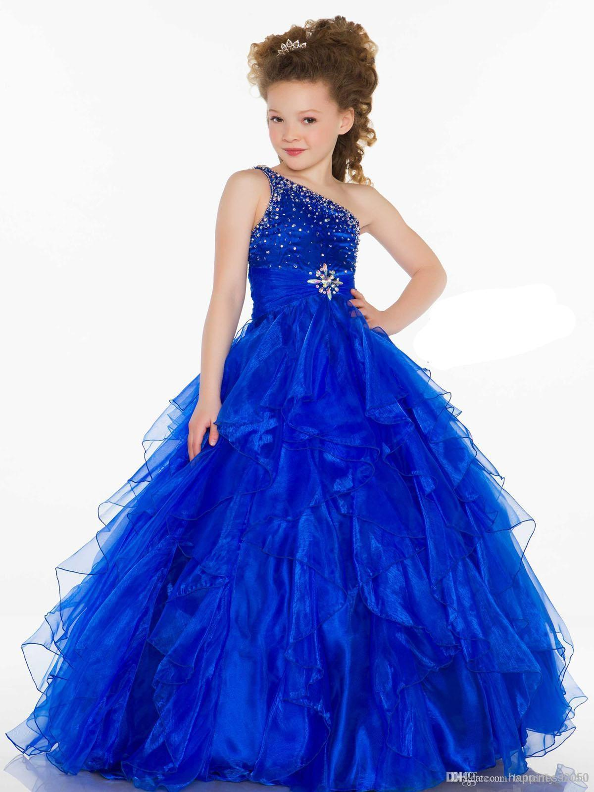 Royal Blue One shoulder Spaghetti strap Floor length Sequin Beaded Tiered Organza Sash Cute Baby Girls dress Girl's Birthday Party Dress