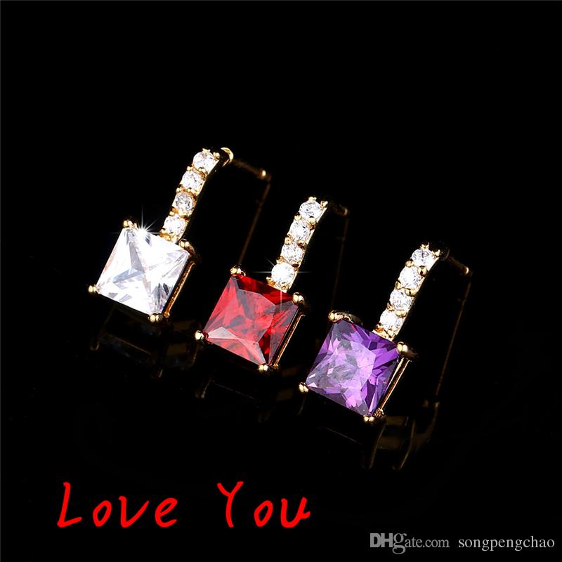 New Luxury Red White Purple Square Cubic Zirconia Earrings Women Fashion Gold Plated Dangle Earrings Jewelry