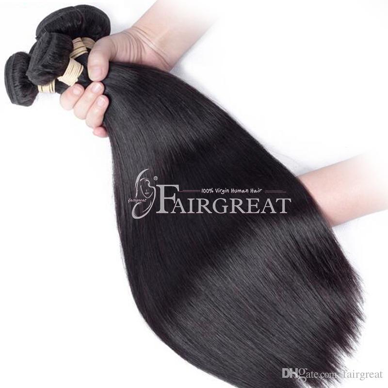 Estensioni diritte brasiliane dei capelli umani con i capelli vergini del tessuto frontale del merletto dei pacchi Prodotti naturali neri dei capelli umani vergini all'ingrosso