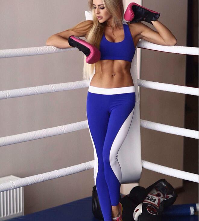 Acheter Femmes Sexy Sports Yoga Vêtements Ensembles 2 Pièces Patchwork Été Courir  Gym Fitness Active Sans Manches Crop Tops Et Pantalons Costumes ... 86aaf1cf0f0