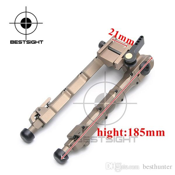 Bestsight Tactical Hunting Rifle Bipod BR-4 Bolt Action Quick Detach Bipod fit 20mm Picatinny Rail for Rifle Scope Black Tan