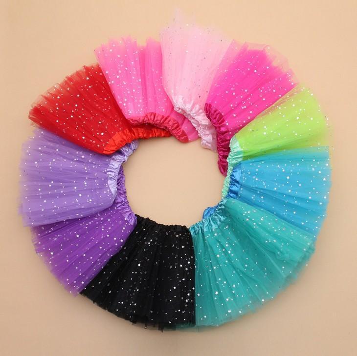 10 цветных девочек блестящий балет танцевальная одежда TUTU юбка девочек, блестящие блестки тюль футболки юбки принцессы одеваются юбки костюм K7158 BJ