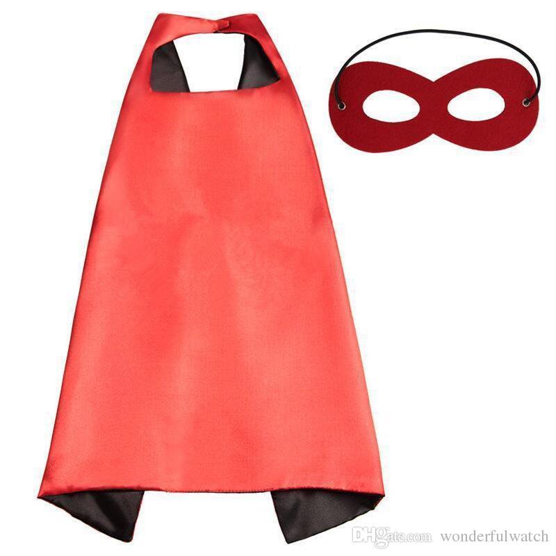 Простые цвета 70 * 70 см 2 слоя satincostume Хэллоуин косплей супергерой накидки дети накидки с маской 20 стили хорошее качество B4
