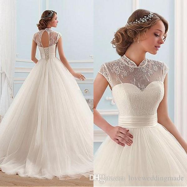 Discount 2017 A Line Wedding Dresses High Collar Lace Cap Sleeve