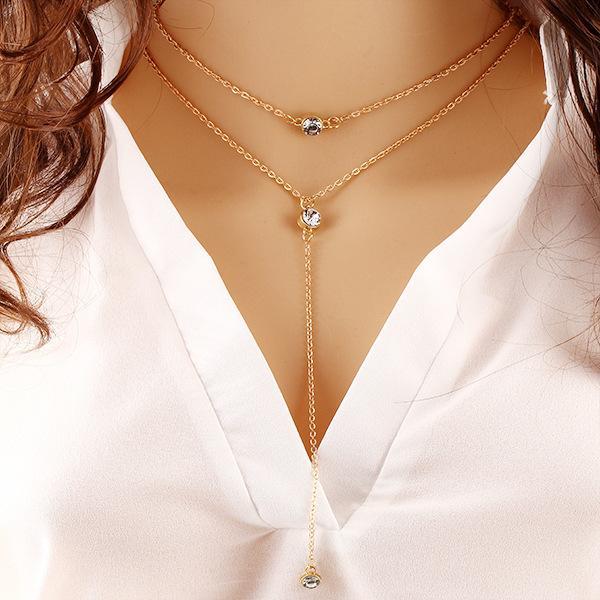 09201e9a06b7 Compre Zircon De Moda Collar Colgante De Cristal Cadenas De Doble Borla  Collar De Chapado En Oro De La Vendimia Collar De Gargantilla Joyería De  Las Mujeres ...