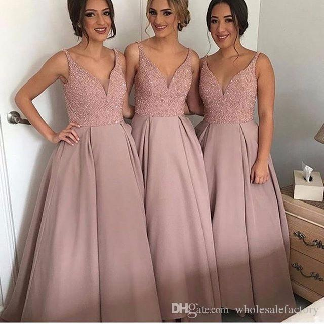 2017 Latest Design A Line Maid Of Honor Bridesmaids Dresses Sexy V Neck  Bling Sequins Top Long Formal Evening Party Wedding Guest Dresses White  Bridesmaid ... d93f51aa3d4b