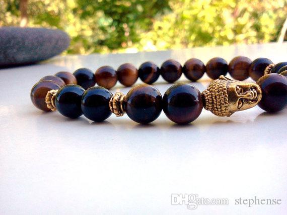 SN0585 Antike goldene Buddha Armband Männer Tigerauge Buddha Armband Yoga Armband für Unisex Freies Verschiffen