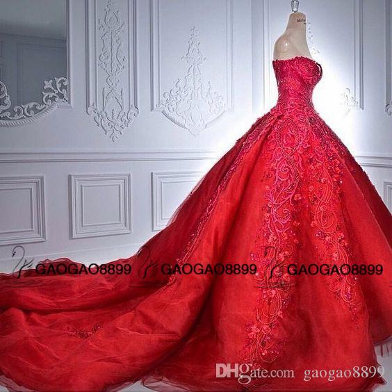 Michael Cinco Amazing Luxury Detail Ball Gown Red Wedding Dresses Sparkly Beaded Crystal Sweetheart Chapel Over Skirt Wedding Dress
