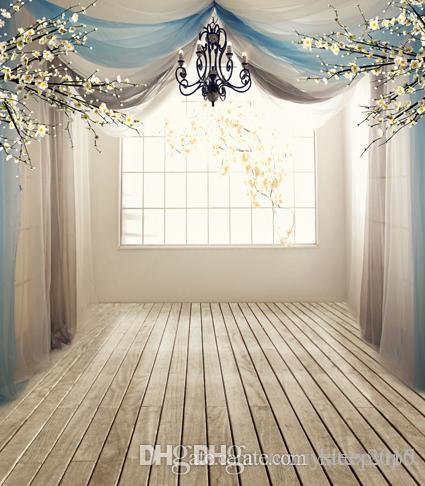 White Amp Blue Curtains Indoor Vinyl Photo Studio Props 5x7ft