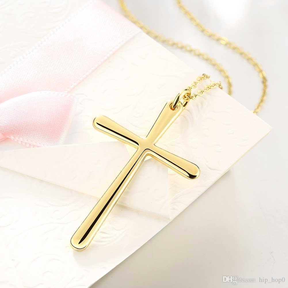 Cross Charms Pendant Necklace 18K Gold Plated Fashion Jewelry 18inch Chain Necklace High Quality Free Antiallergic Lady Girls Gift