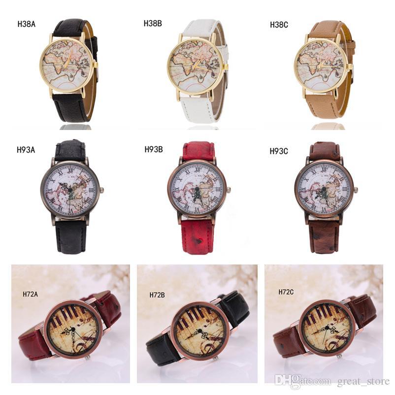Mapa del mundo de Ginebra Notas de piano Reloj de cuarzo, reloj de pulsera antifatiga, reloj de 6 piezas, mucho estilo mixto GTPH56