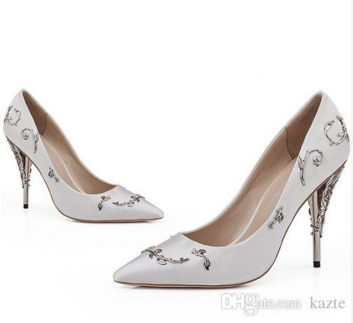 Women dress eden heel party Pumps Shallow Pointed Toe Thin Heels New Wedding bridal high heels Shoes accessories Women Shoes