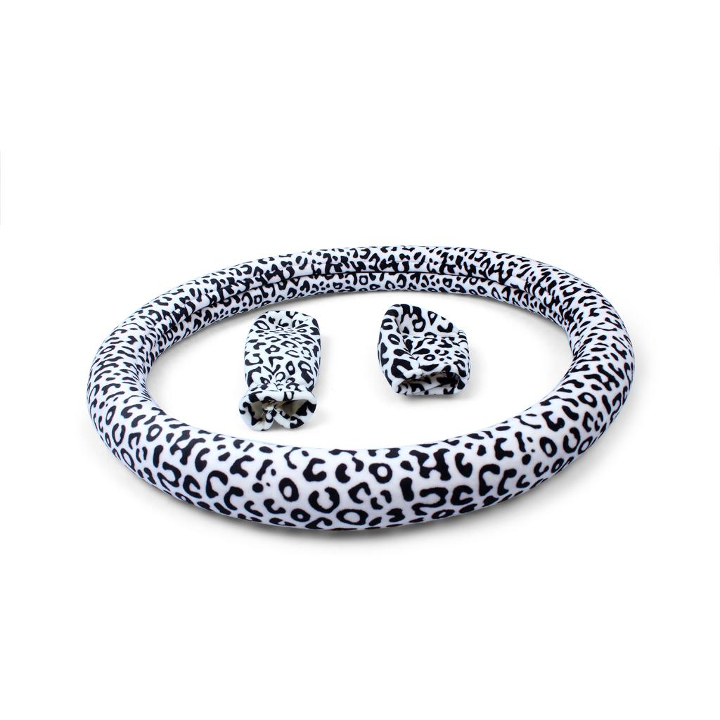3 In 1 Car Steering Wheel Styling Cover with Shift knob Handbrake Cover Sexy Lady Leopard Auto Vehicle Steering Wheel Covers
