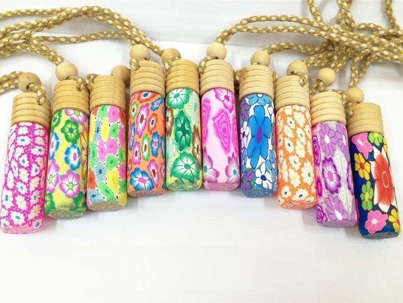 Ücretsiz kargo ahşap polimer kil ile 10 ml araba parfüm şişeleri doldurulabilir şişe boş küçük parfüm
