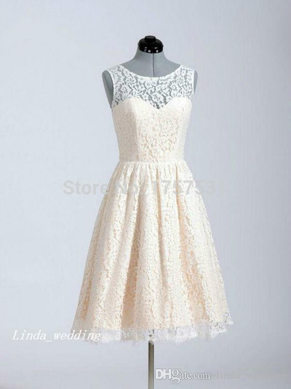 Real Photo Lace Bridesmaid Dress Vintage Cream White A-Line Maid of Honor Dress Homecoming Dress Pretty Graduation Dresses Sweet 16