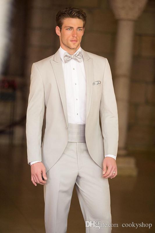 Custom made ternos frete grátis Luz Cinza Do Noivo Smoking Ternos feitos sob encomenda noivo do casamento desgaste vestido vest mens ternos casamento noivo