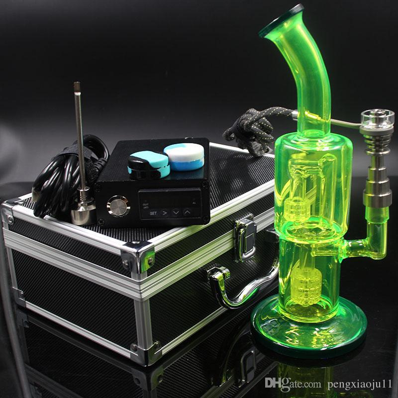 Kit de unhas D com 6 em 1 bobina de aquecimento de unhas híbrida de titânio / quartzo com bongo de cor verde fluorescente