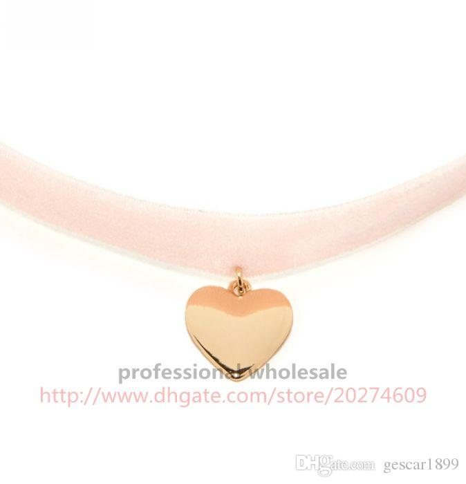 Latest Fashion Style Pink Velvet Heart Shape Pendant Neck Chain Necklace Choker Jewelry For Girls Woman