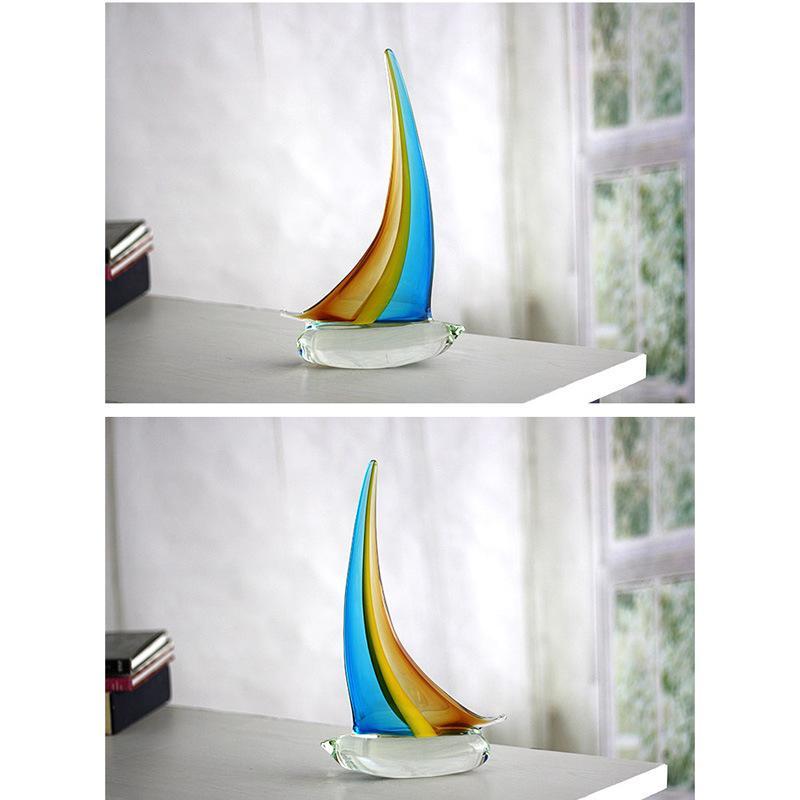 Voile bateau ornements chanceux personnalisé en verre sculpté décoration artisanat ornements avec 2 couleurs pour cadeau de Noël