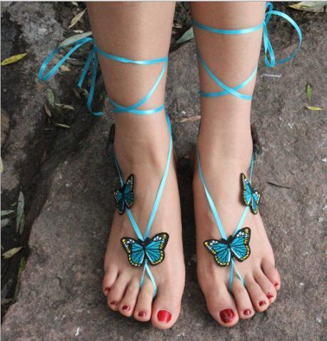 Schmuck Strand Pool Wear Butterfly Barfuß Sandalen Stretch Fußkettchen Kette mit Toe Retaile Sandbeach Hochzeit Braut Brautjungfer Fuß Schmuck