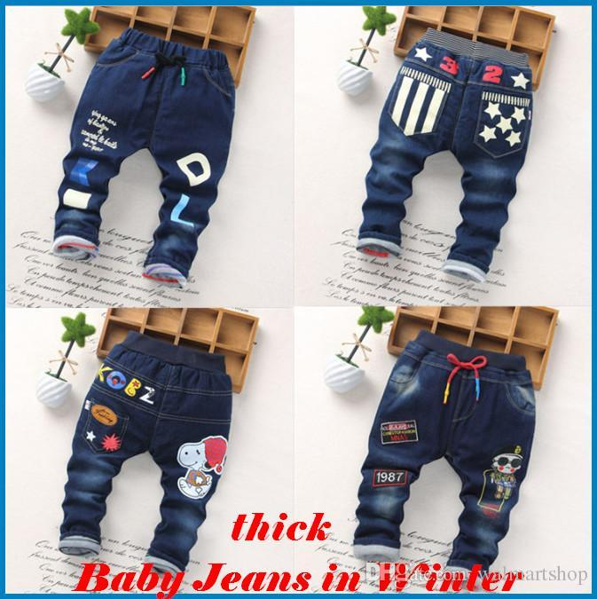ac590a545414 Kids Pants Boys Girl Boys  Jeans Baby New Winter Children Jeans Trousers  Thick Jeans And Cotton Children S Cartoon Printing Ouc021 DHL It Jeans For  Girls ...