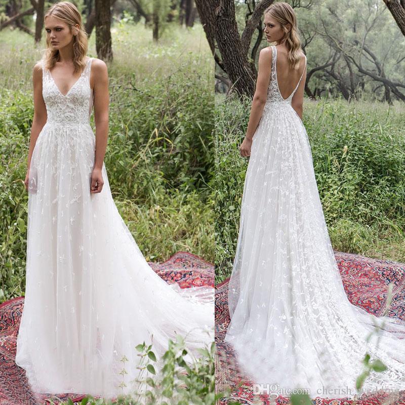 discount boho country wedding dresses a line v neck backless lace
