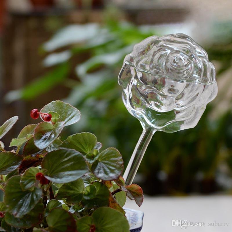 투명한 작은 공예 유리 식물 급수 글로브, 장미 모양 식물 급수 공, 작은 공예 유리 공장 급수 글로브