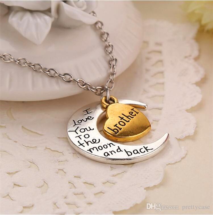 Vintage Mond Charm Familie Kette Halskette Ich liebe dich bis zum Mond und zurück Charm Anhänger Halsketten Mutter Vater Bruder Schwester Familie Geschenk