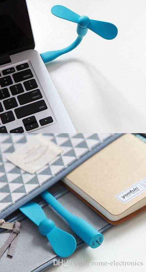 USB Fan Gadgets Flessibile USB portatile Mini ventilatore frigorifero Xiaomi Power Bank Notebook Computer portatile Risparmio energetico