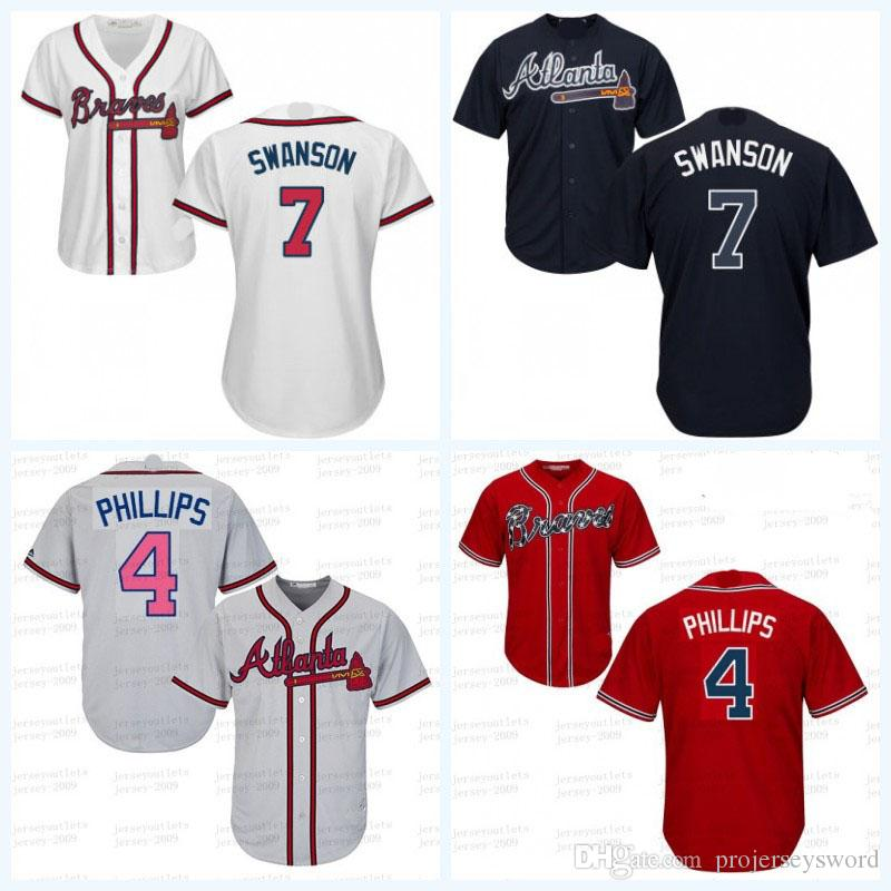 fac91a7e4 ... 2017 WomenS 7 Dansby Swanson Jersey Atlanta Braves 4 Brandon Phillips  100% Stitched Cool Base ...