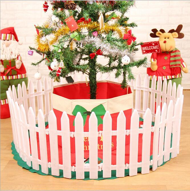 Pvc Noël En Plastique Clôture Liberté Split Joint Blanc Enclosure De Noël Arbre Clôture De Noël Décoration Boîtier 30 * 12 cm