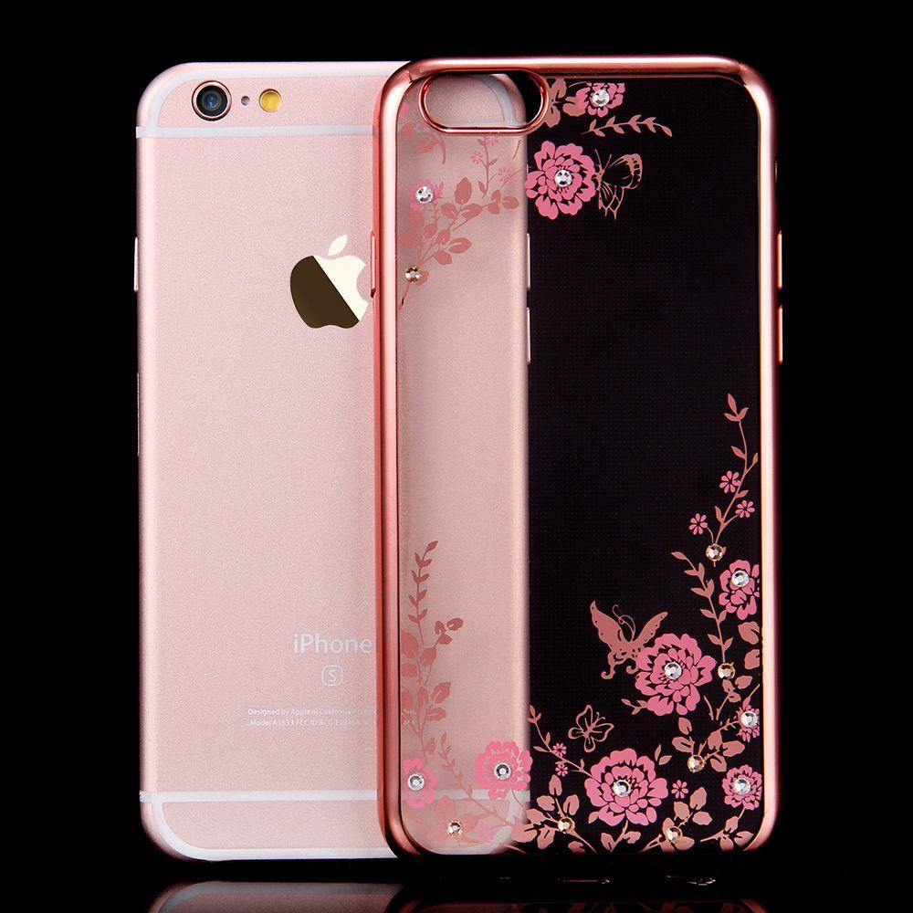 Floveme Flora Diamond Hülle für Apple iPhone 6   6S für iPhone 6 Plus   6S  Plus Schicker Blumen Bling Soft TPU Clear Phone Cover 27283e23b45ba