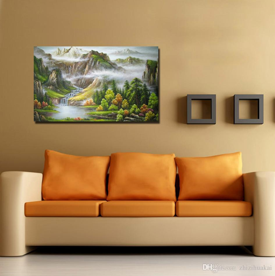 unframed art picture on Canvas Prints Oil Painting Rose Lady Cartoon dolls tree mountain waterfall Bridge house