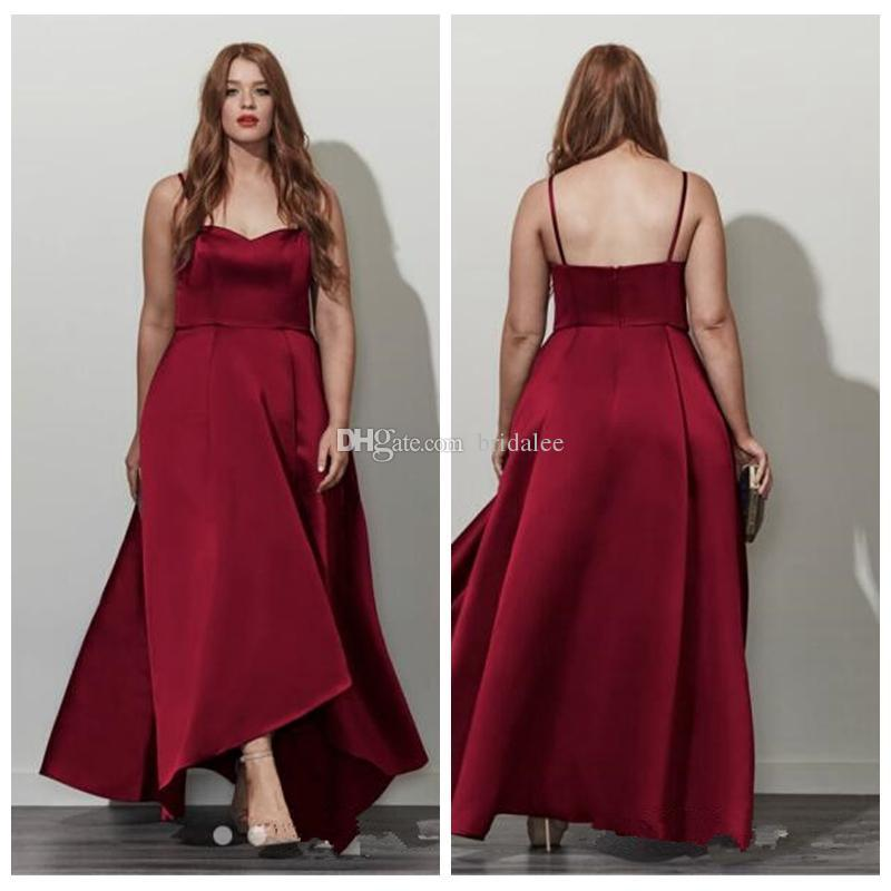 2016 Simple Spaghetti Straps A Line High Low Burgundy Prom Dresses Plus Size Cheap Online Formal Evening Gowns Empire Waist
