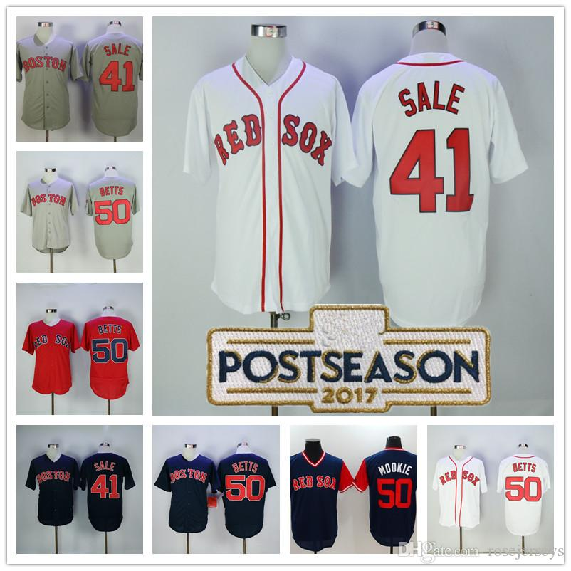 2632aab6d1c ... 2017 Boston Red Sox 41 Chris Sale 50 Mookie Betts Nickname Jersey Gray  White Navy Blue ...
