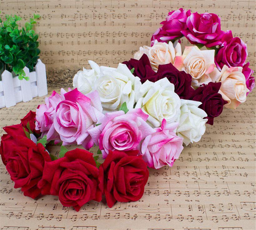 Compre Nupcial Do Casamento Vermelho Headpiece Floral Crown Rose Flor  Headband Cabelo Garland Acessórios Jóias Headpiece Coroa Tiara Vinho  Vermelho Rosa ... dda31950542