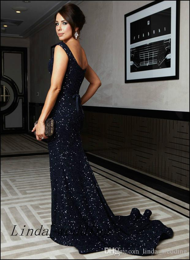 Kate Ritchie Vintage Evening Dresses Navy Blue Sleeveless Sexy Sequin Floor Length Formal Special Long Evening Gowns