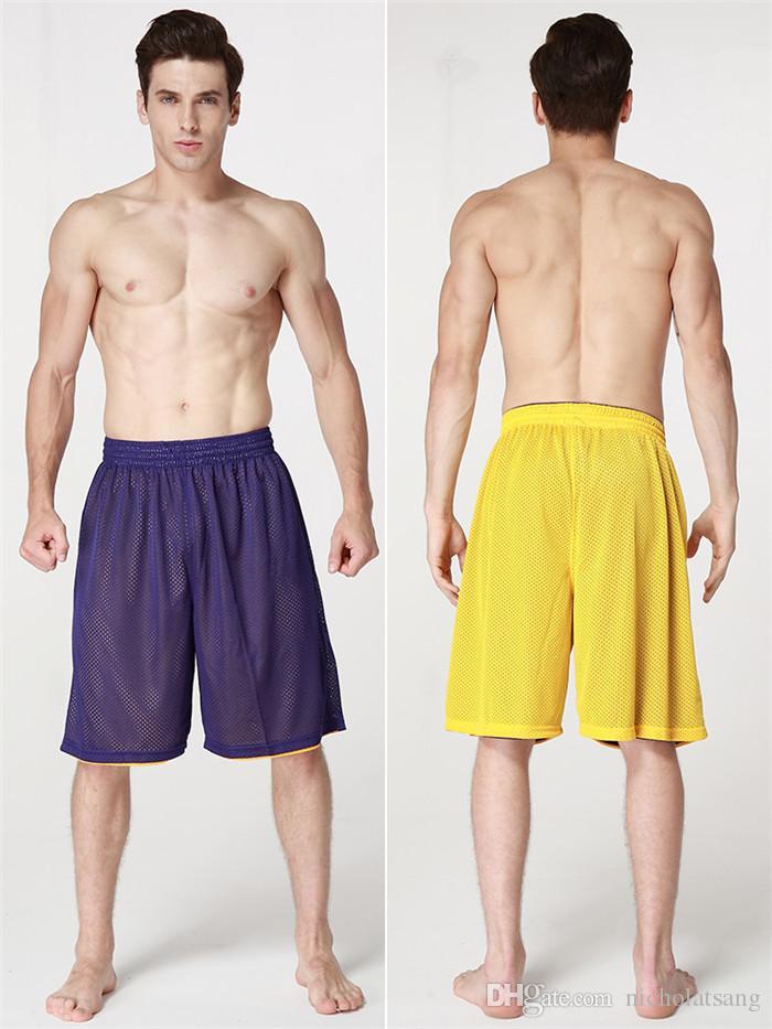 8 Estilos 2016 Venta Caliente de Verano de Alta Calidad Reversible Casual Pantalones Cortos de Los Hombres de Doble Vías Transpirables Pantalones Cortos de Baloncesto Deportivo
