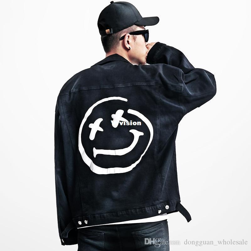 386aea2098af 2017 Jacket Big Smile Emoji Denim Jacket Men Women Denim Coats Black Autumn  Winter Jackets BF0571CJ Jaket For Men Men In Jackets From Vrvision